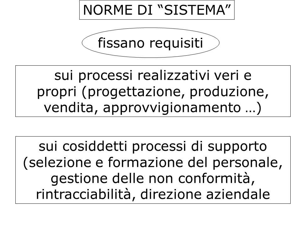 NORME DI SISTEMA sui processi realizzativi veri e propri (progettazione, produzione, vendita, approvvigionamento …) sui cosiddetti processi di support