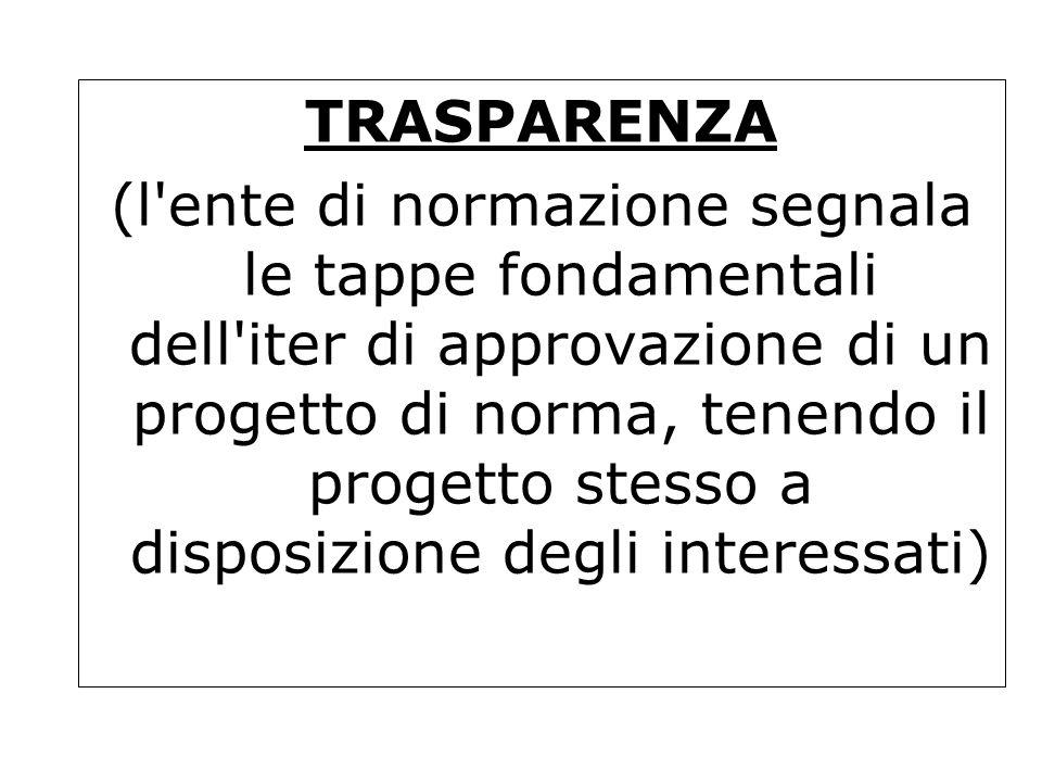 TRASPARENZA (l'ente di normazione segnala le tappe fondamentali dell'iter di approvazione di un progetto di norma, tenendo il progetto stesso a dispos