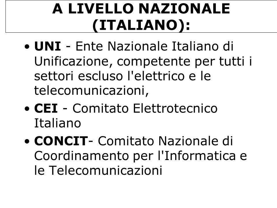 A LIVELLO NAZIONALE (ITALIANO): UNI - Ente Nazionale Italiano di Unificazione, competente per tutti i settori escluso l'elettrico e le telecomunicazio