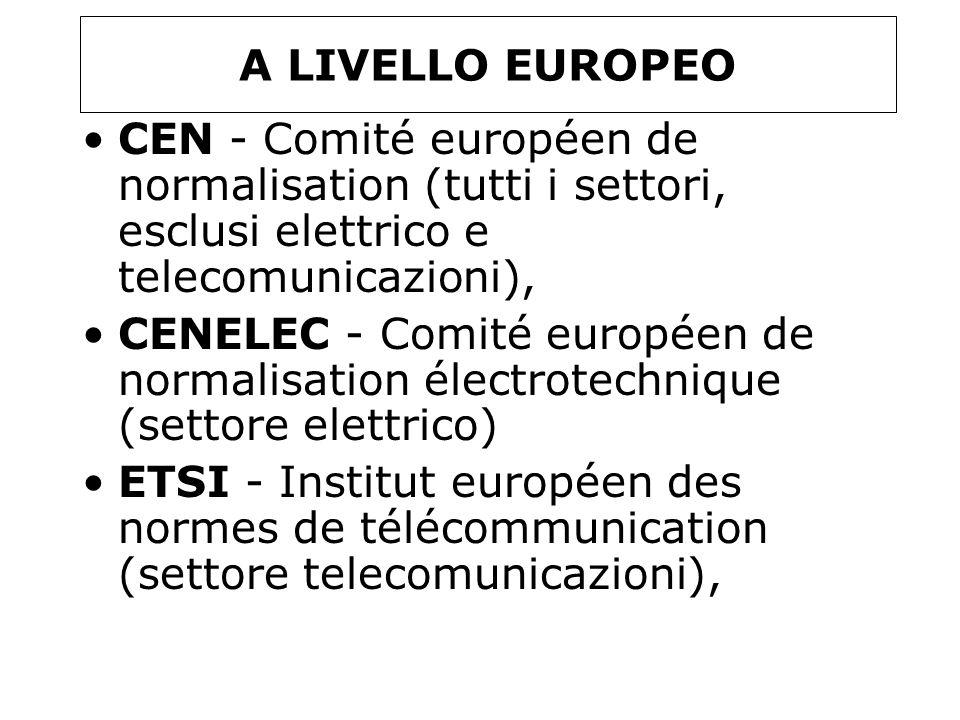 A LIVELLO EUROPEO CEN - Comité européen de normalisation (tutti i settori, esclusi elettrico e telecomunicazioni), CENELEC - Comité européen de normal