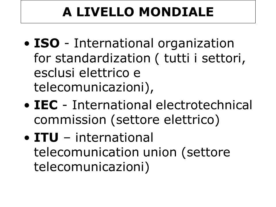 A LIVELLO MONDIALE ISO - International organization for standardization ( tutti i settori, esclusi elettrico e telecomunicazioni), IEC - International