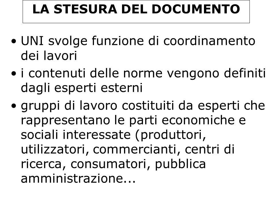 LA STESURA DEL DOCUMENTO UNI svolge funzione di coordinamento dei lavori i contenuti delle norme vengono definiti dagli esperti esterni gruppi di lavo