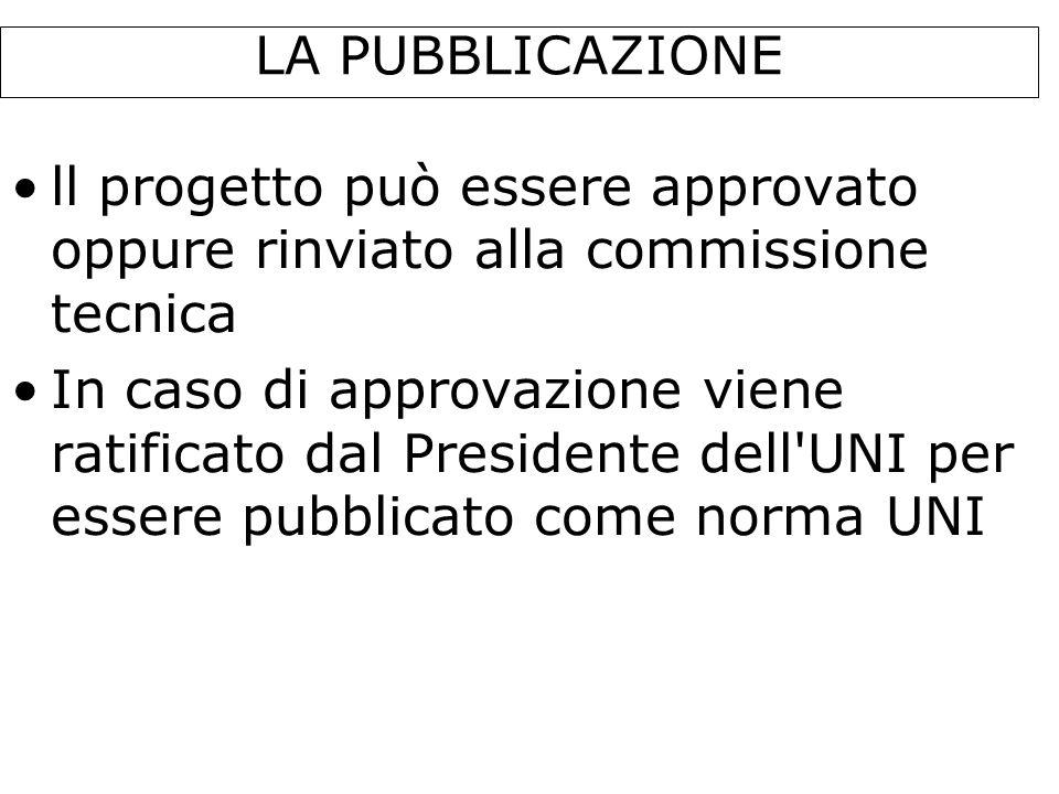 LA PUBBLICAZIONE ll progetto può essere approvato oppure rinviato alla commissione tecnica In caso di approvazione viene ratificato dal Presidente del
