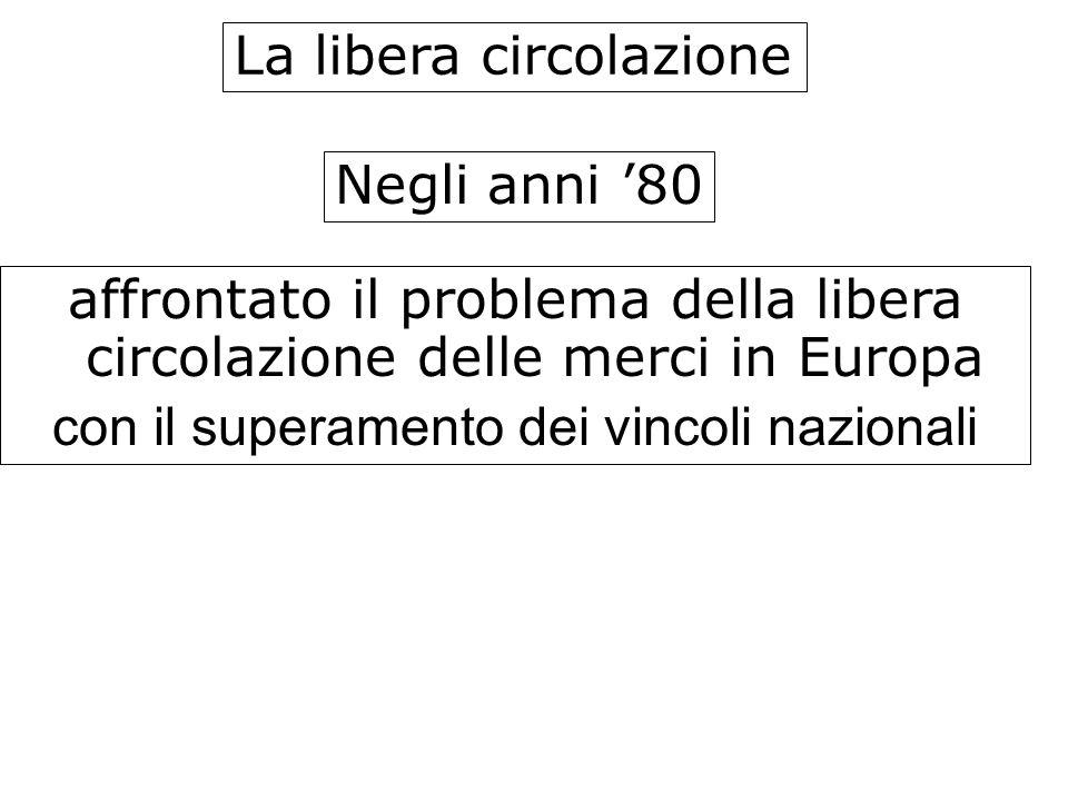 La libera circolazione Negli anni 80 affrontato il problema della libera circolazione delle merci in Europa con il superamento dei vincoli nazionali