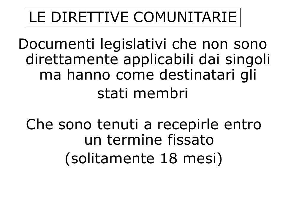 Documenti legislativi che non sono direttamente applicabili dai singoli ma hanno come destinatari gli stati membri LE DIRETTIVE COMUNITARIE Che sono t