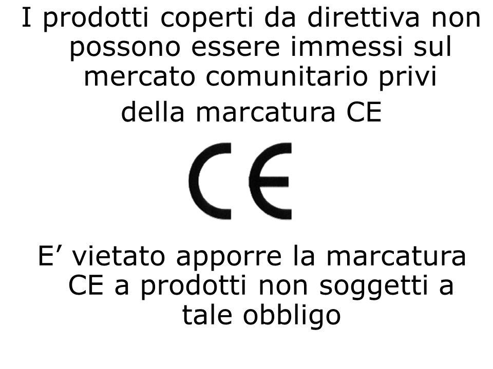 I prodotti coperti da direttiva non possono essere immessi sul mercato comunitario privi della marcatura CE E vietato apporre la marcatura CE a prodot