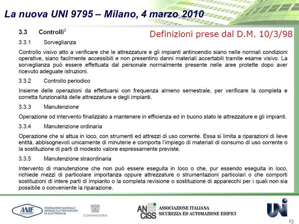 La nuova UNI 9795 – Milano, 4 marzo 2010 15 Definizioni prese dal D.M. 10/3/98