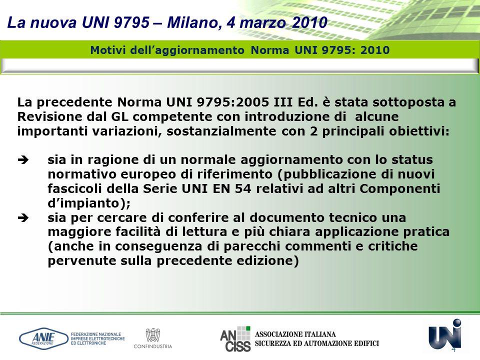 La nuova UNI 9795 – Milano, 4 marzo 2010 4 La precedente Norma UNI 9795:2005 III Ed. è stata sottoposta a Revisione dal GL competente con introduzione