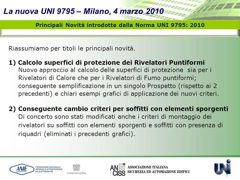 La nuova UNI 9795 – Milano, 4 marzo 2010 5 Riassumiamo per titoli le principali novità. 1) Calcolo superfici di protezione dei Rivelatori Puntiformi N