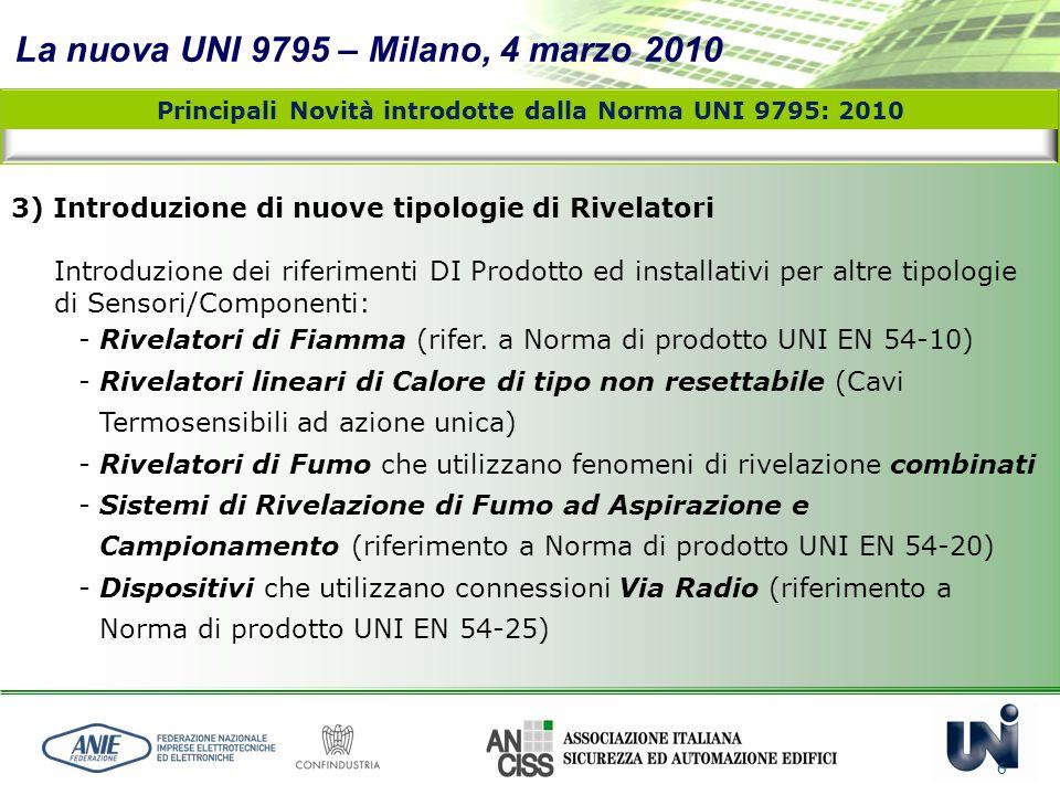 La nuova UNI 9795 – Milano, 4 marzo 2010 6 3) Introduzione di nuove tipologie di Rivelatori Introduzione dei riferimenti DI Prodotto ed installativi p