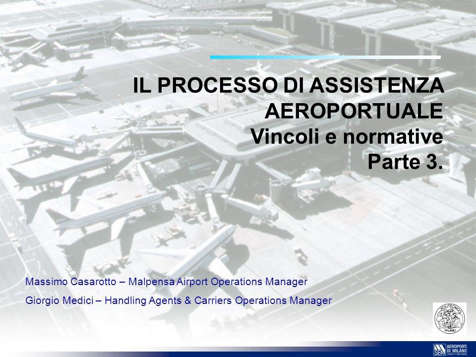 IL PROCESSO DI ASSISTENZA AEROPORTUALE Vincoli e normative Parte 3. Massimo Casarotto – Malpensa Airport Operations Manager Giorgio Medici – Handling
