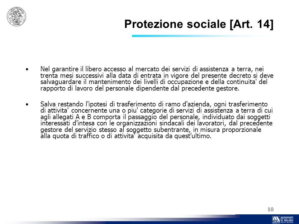 10 Protezione sociale [Art. 14] Nel garantire il libero accesso al mercato dei servizi di assistenza a terra, nei trenta mesi successivi alla data di
