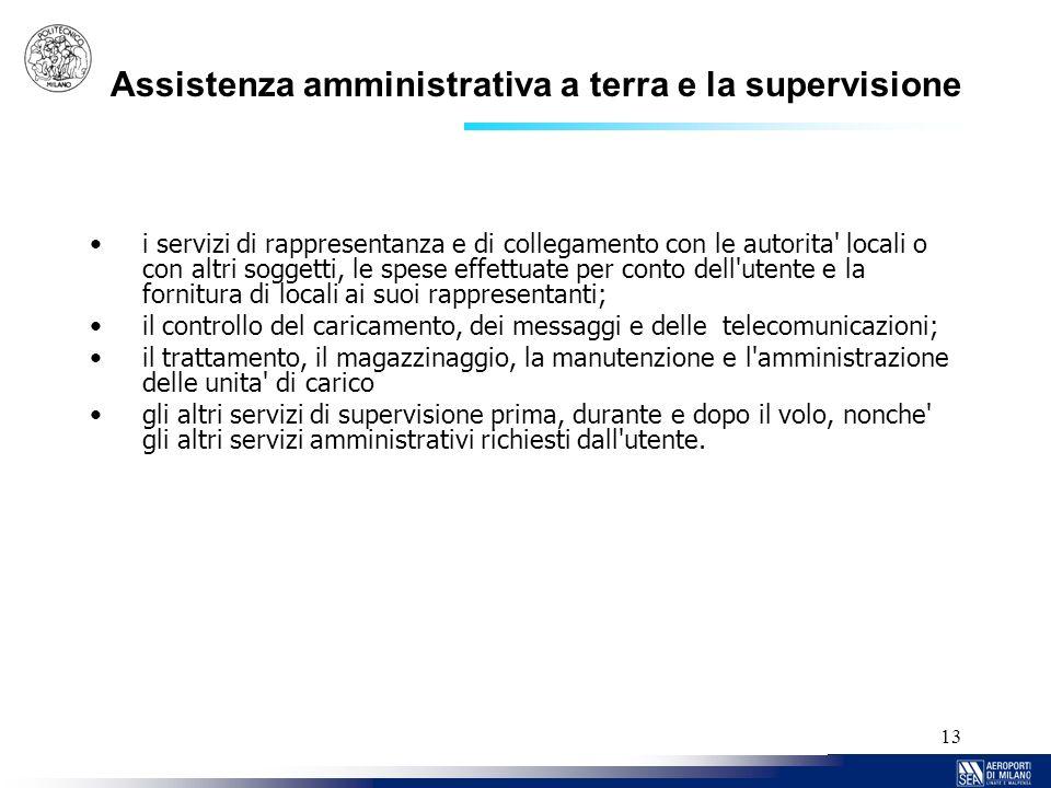 13 Assistenza amministrativa a terra e la supervisione i servizi di rappresentanza e di collegamento con le autorita' locali o con altri soggetti, le