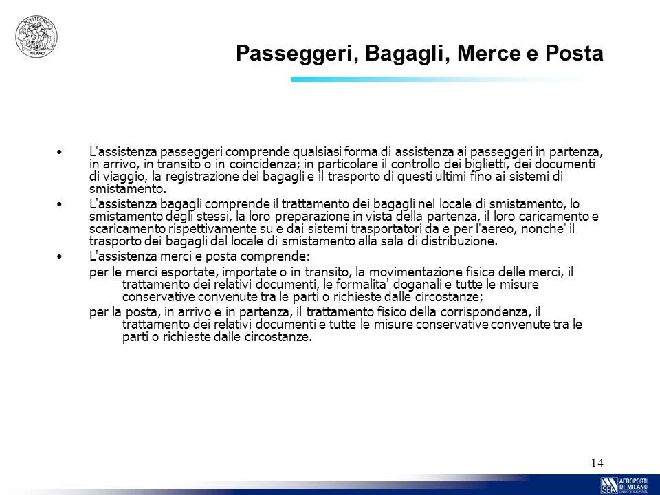 14 Passeggeri, Bagagli, Merce e Posta L'assistenza passeggeri comprende qualsiasi forma di assistenza ai passeggeri in partenza, in arrivo, in transit