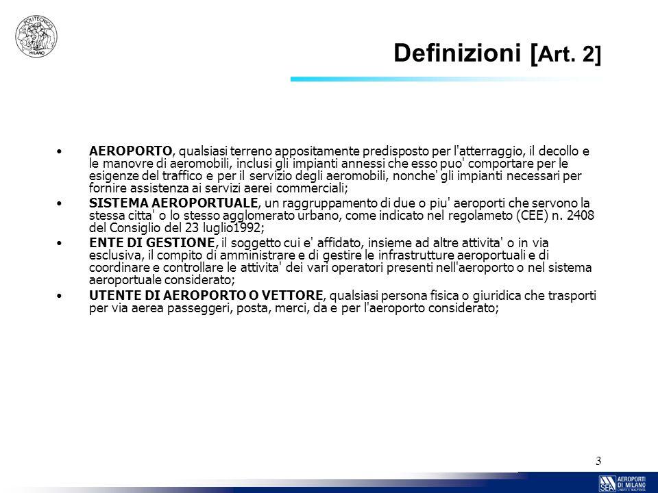 3 Definizioni [ Art. 2] AEROPORTO, qualsiasi terreno appositamente predisposto per l'atterraggio, il decollo e le manovre di aeromobili, inclusi gli i