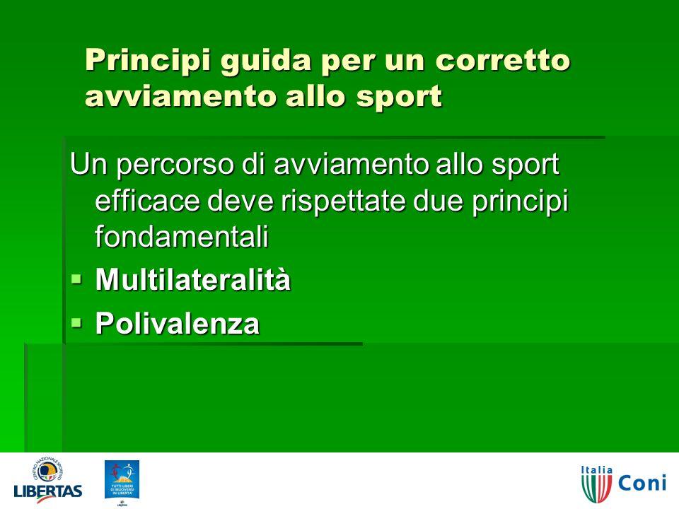 Principi guida per un corretto avviamento allo sport Un percorso di avviamento allo sport efficace deve rispettate due principi fondamentali Multilateralità Multilateralità Polivalenza Polivalenza
