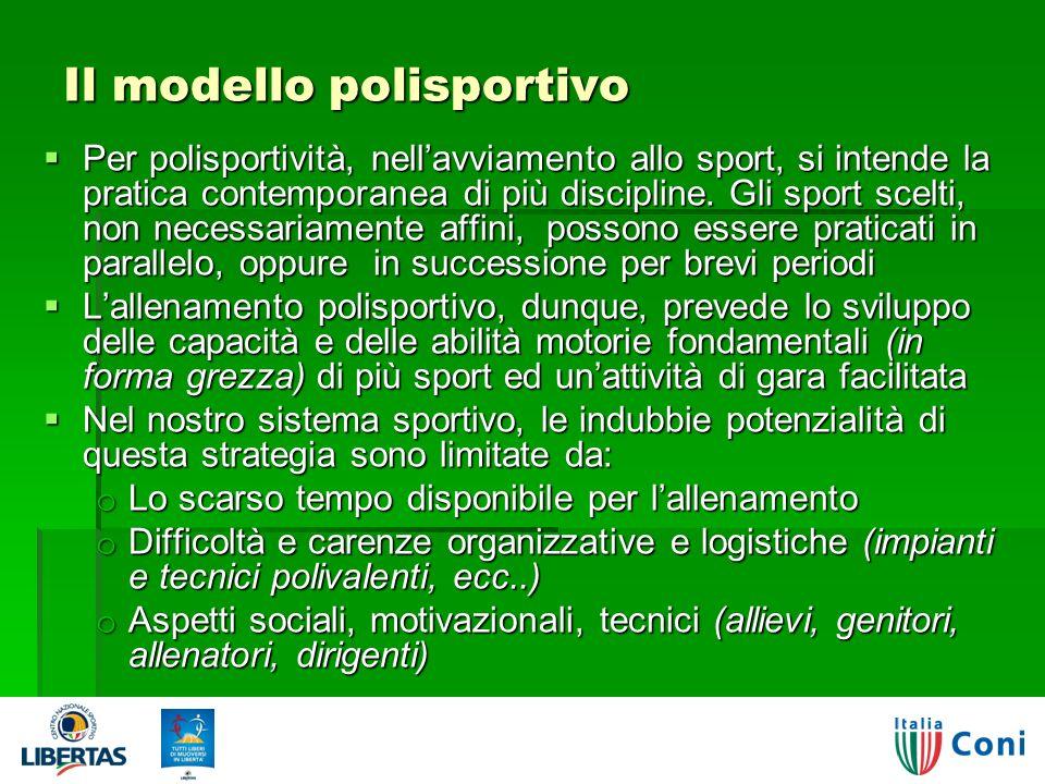 Il modello polisportivo Per polisportività, nellavviamento allo sport, si intende la pratica contemporanea di più discipline.