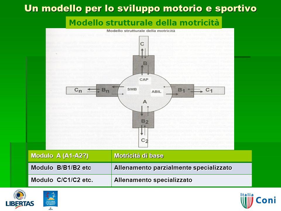 Un modello per lo sviluppo motorio e sportivo 24 Modulo A (A1-A2?) Motricità di base Modulo B/B1/B2 etc Allenamento parzialmente specializzato Modulo C/C1/C2 etc.