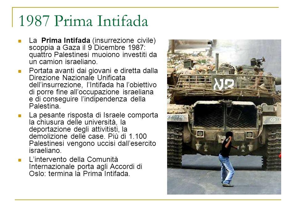 1987 Prima Intifada La Prima Intifada (insurrezione civile) scoppia a Gaza il 9 Dicembre 1987: quattro Palestinesi muoiono investiti da un camion isra