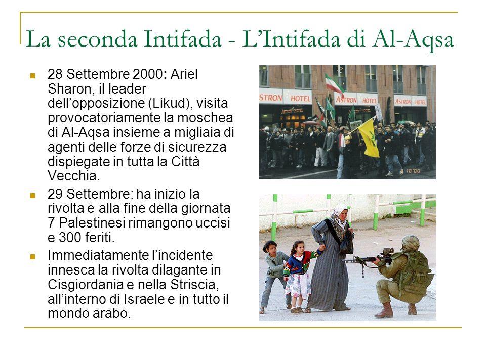La seconda Intifada - LIntifada di Al-Aqsa 28 Settembre 2000: Ariel Sharon, il leader dellopposizione (Likud), visita provocatoriamente la moschea di