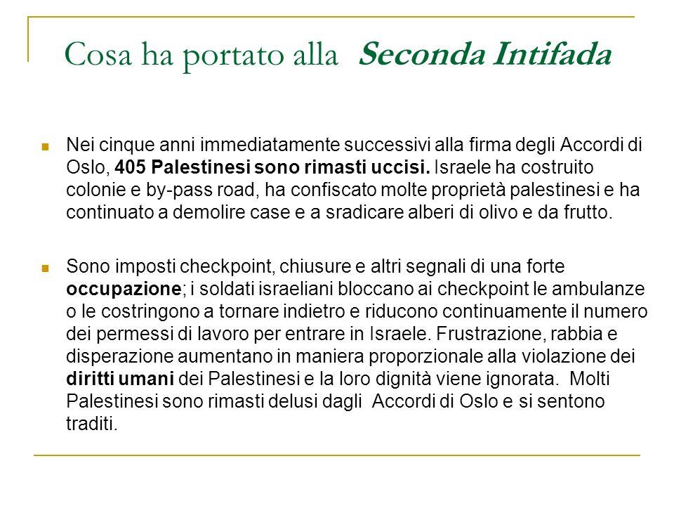 Cosa ha portato alla Seconda Intifada Nei cinque anni immediatamente successivi alla firma degli Accordi di Oslo, 405 Palestinesi sono rimasti uccisi.