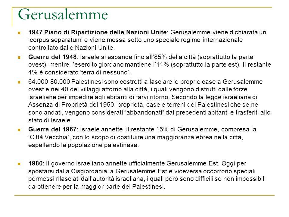 Gerusalemme 1947 Piano di Ripartizione delle Nazioni Unite: Gerusalemme viene dichiarata un corpus separatum e viene messa sotto uno speciale regime i