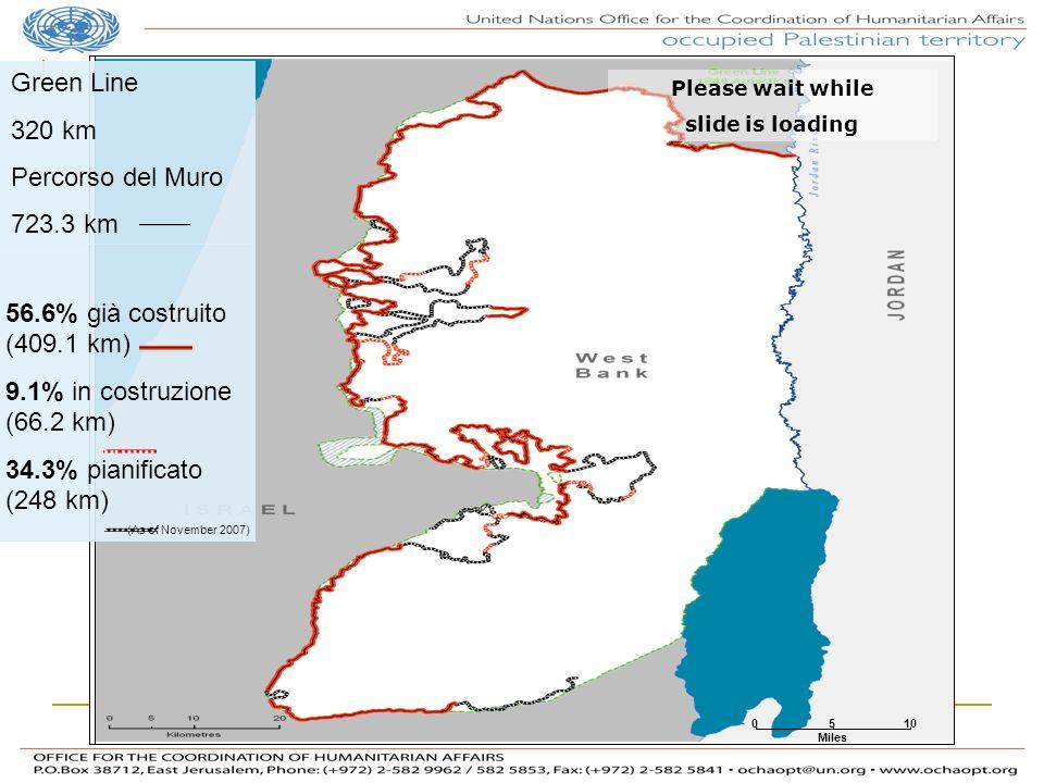 Green Line 320 km Percorso del Muro 723.3 km 56.6% già costruito (409.1 km) 9.1% in costruzione (66.2 km) 34.3% pianificato (248 km) (As of November 2