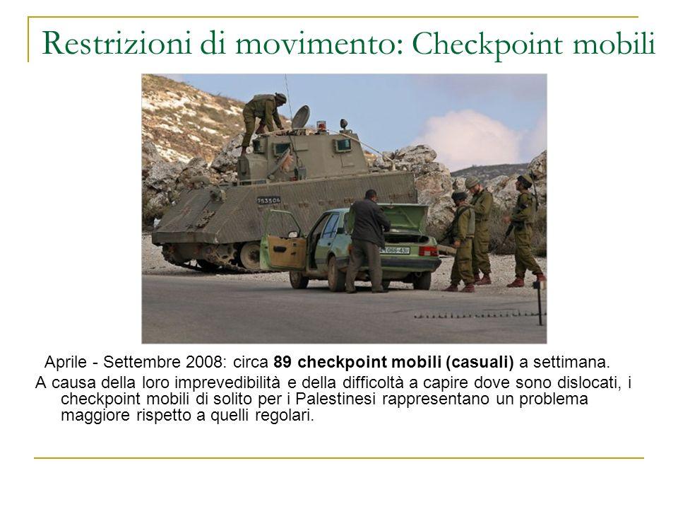 Restrizioni di movimento: Checkpoint mobili Aprile - Settembre 2008: circa 89 checkpoint mobili (casuali) a settimana. A causa della loro imprevedibil
