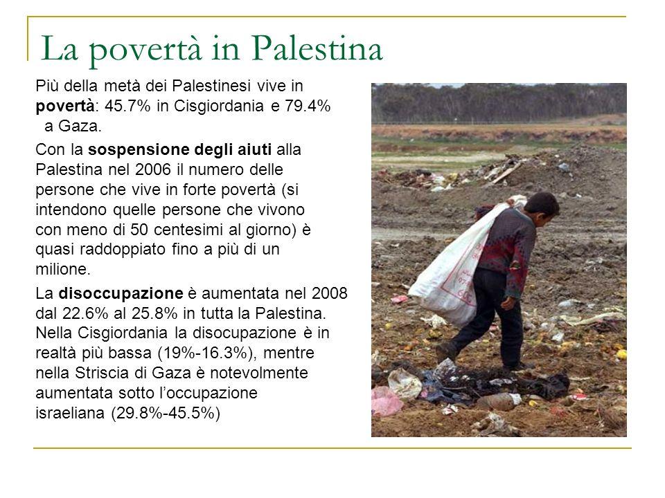La povertà in Palestina Più della metà dei Palestinesi vive in povertà: 45.7% in Cisgiordania e 79.4% a Gaza. Con la sospensione degli aiuti alla Pale