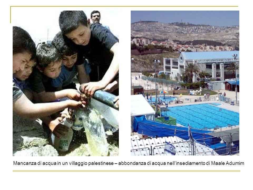 Mancanza di acqua in un villaggio palestinese – abbondanza di acqua nellinsediamento di Maale Adumim