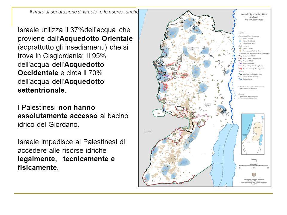 Il muro di separazione di Israele e le risorse idriche Israele utilizza il 37%dellacqua che proviene dallAcquedotto Orientale (soprattutto gli insedia