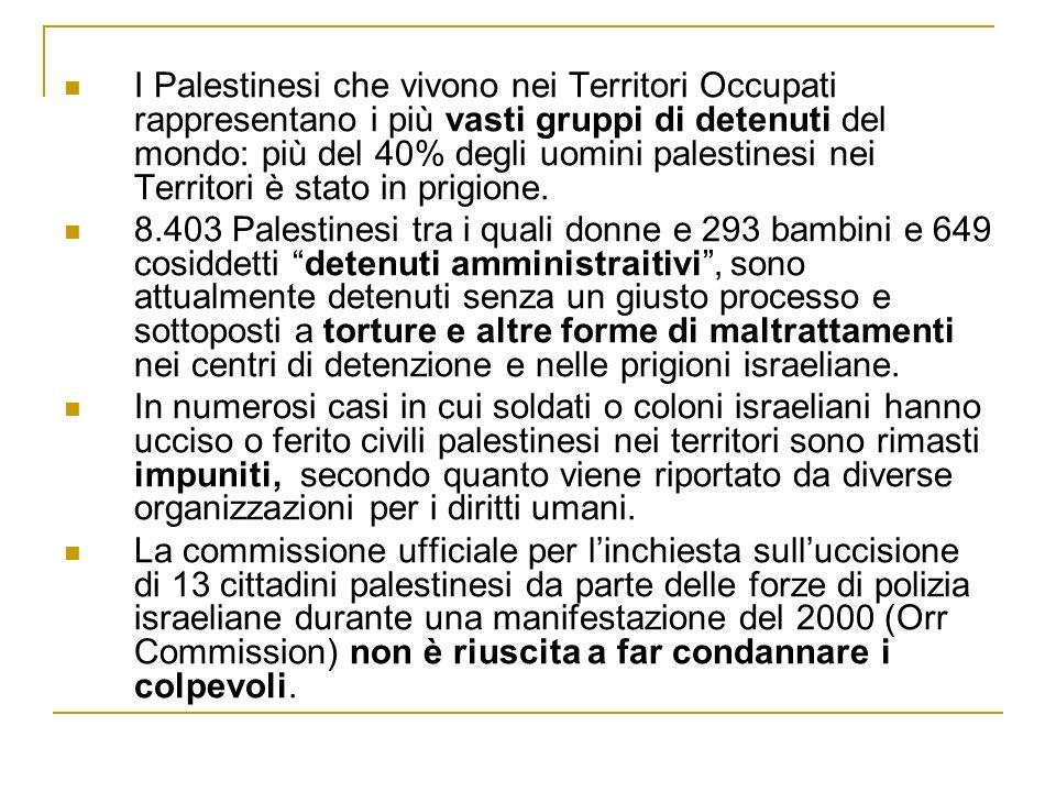 I Palestinesi che vivono nei Territori Occupati rappresentano i più vasti gruppi di detenuti del mondo: più del 40% degli uomini palestinesi nei Terri