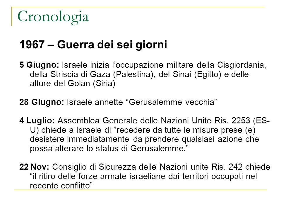 Cronologia 1967 – Guerra dei sei giorni 5 Giugno: Israele inizia loccupazione militare della Cisgiordania, della Striscia di Gaza (Palestina), del Sin