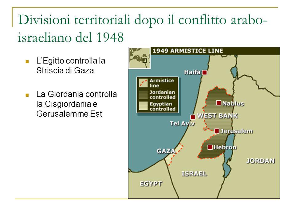 Divisioni territoriali dopo il conflitto arabo- israeliano del 1948 LEgitto controlla la Striscia di Gaza La Giordania controlla la Cisgiordania e Ger