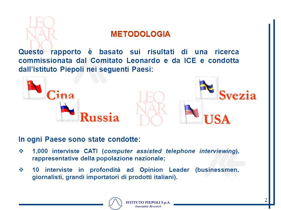 2 METODOLOGIA Questo rapporto è basato sui risultati di una ricerca commissionata dal Comitato Leonardo e da ICE e condotta dallIstituto Piepoli nei s
