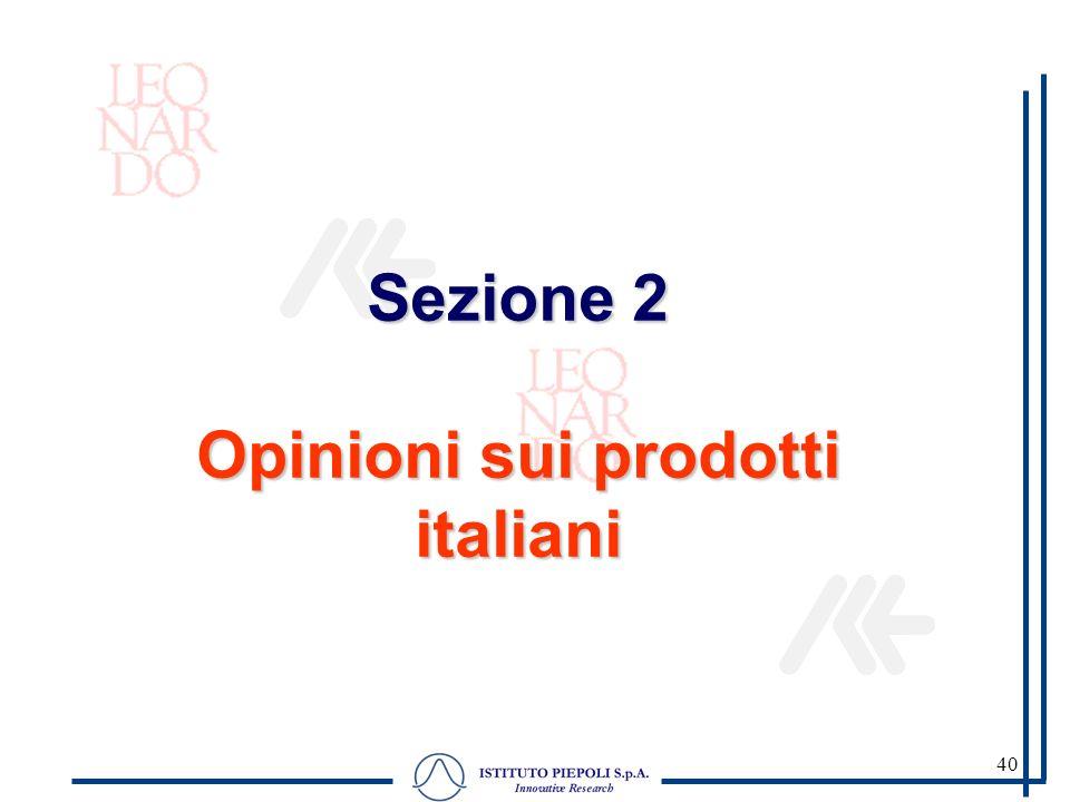 40 Sezione 2 Opinioni sui prodotti italiani