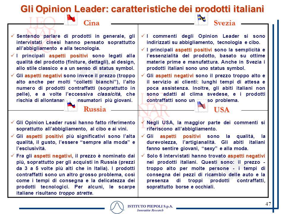 47 Gli Opinion Leader: caratteristiche dei prodotti italiani Sentendo parlare di prodotti in generale, gli intervistati cinesi hanno pensato soprattut