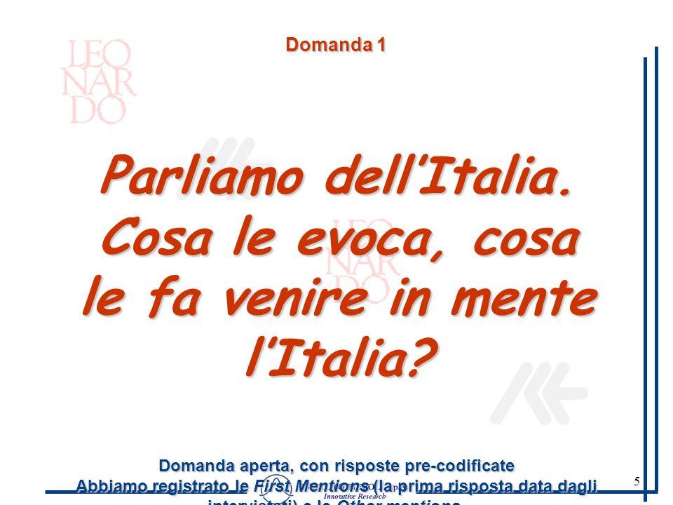 5 Domanda 1 Parliamo dellItalia. Cosa le evoca, cosa le fa venire in mente lItalia? Domanda aperta, con risposte pre-codificate Abbiamo registrato le