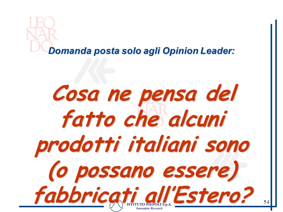 54 Domanda posta solo agli Opinion Leader: Cosa ne pensa del fatto che alcuni prodotti italiani sono (o possano essere) fabbricati allEstero?