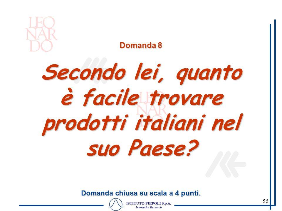 56 Domanda 8 Secondo lei, quanto è facile trovare prodotti italiani nel suo Paese? Domanda chiusa su scala a 4 punti.