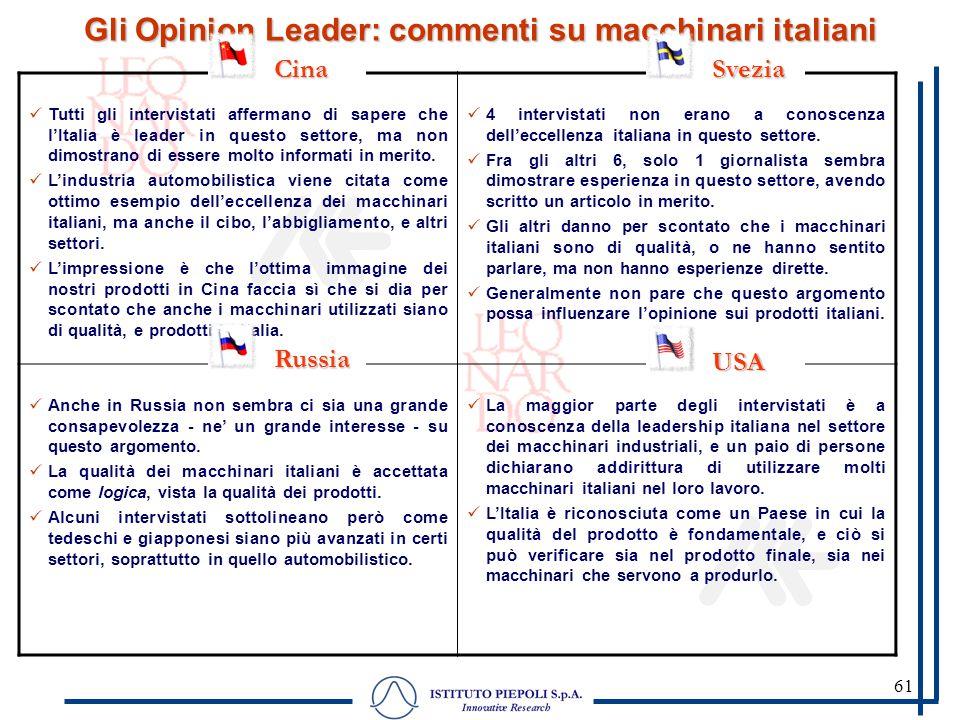 61 Gli Opinion Leader: commenti su macchinari italiani Tutti gli intervistati affermano di sapere che lItalia è leader in questo settore, ma non dimos