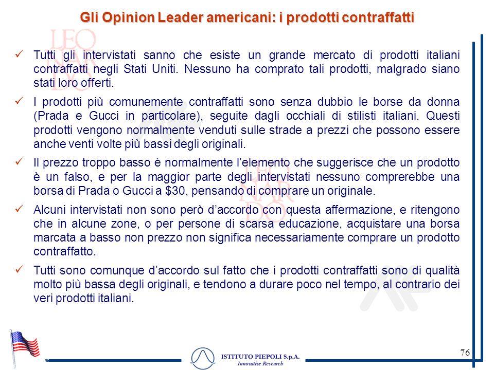 76 Gli Opinion Leader americani: i prodotti contraffatti Tutti gli intervistati sanno che esiste un grande mercato di prodotti italiani contraffatti n