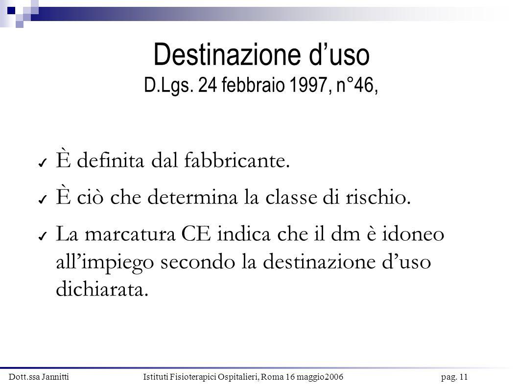 Dott.ssa Jannitti Istituti Fisioterapici Ospitalieri, Roma 16 maggio2006 pag. 11 Destinazione duso D.Lgs. 24 febbraio 1997, n°46, È definita dal fabbr