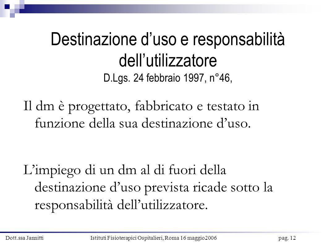Dott.ssa Jannitti Istituti Fisioterapici Ospitalieri, Roma 16 maggio2006 pag. 12 Destinazione duso e responsabilità dellutilizzatore D.Lgs. 24 febbrai