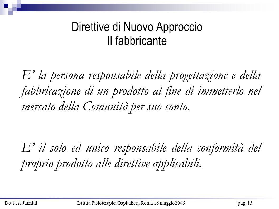 Dott.ssa Jannitti Istituti Fisioterapici Ospitalieri, Roma 16 maggio2006 pag. 13 Direttive di Nuovo Approccio Il fabbricante E la persona responsabile
