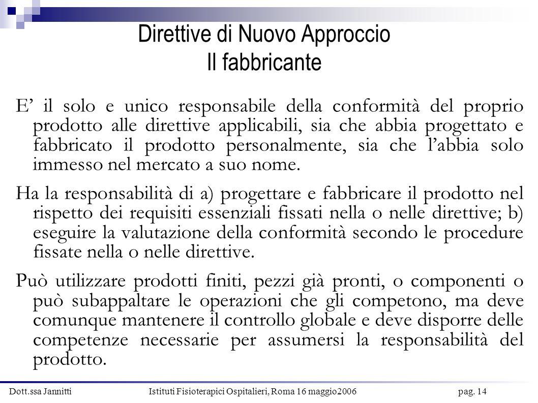 Dott.ssa Jannitti Istituti Fisioterapici Ospitalieri, Roma 16 maggio2006 pag. 14 Direttive di Nuovo Approccio Il fabbricante E il solo e unico respons