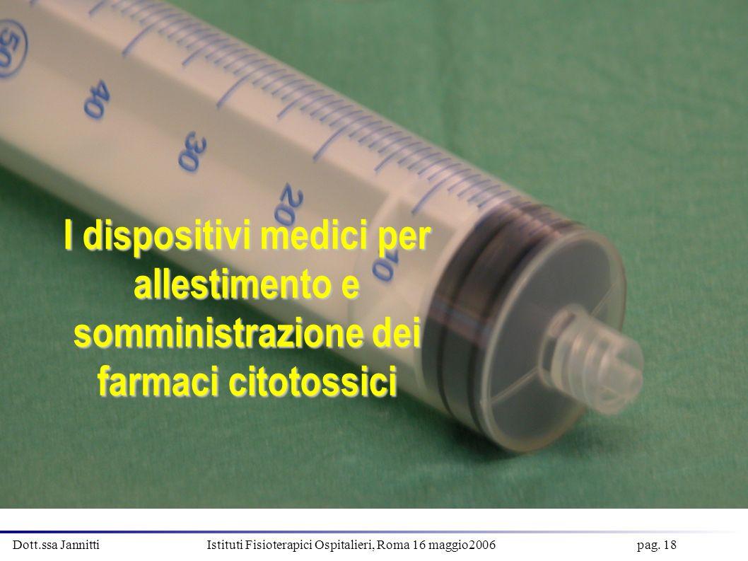 Dott.ssa Jannitti Istituti Fisioterapici Ospitalieri, Roma 16 maggio2006 pag. 18 I dispositivi medici per allestimento e somministrazione dei farmaci