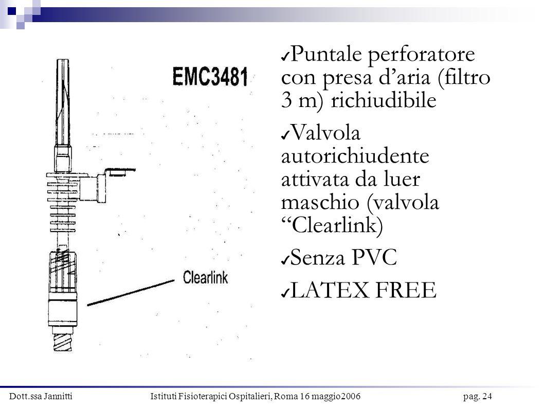 Dott.ssa Jannitti Istituti Fisioterapici Ospitalieri, Roma 16 maggio2006 pag. 24 Puntale perforatore con presa daria (filtro 3 m) richiudibile Valvola