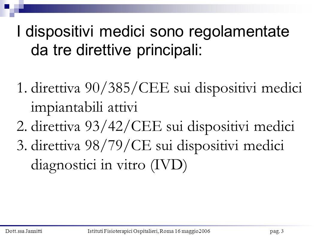 Dott.ssa Jannitti Istituti Fisioterapici Ospitalieri, Roma 16 maggio2006 pag. 3 I dispositivi medici sono regolamentate da tre direttive principali: 1