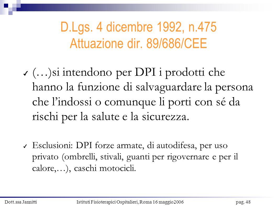 Dott.ssa Jannitti Istituti Fisioterapici Ospitalieri, Roma 16 maggio2006 pag. 48 D.Lgs. 4 dicembre 1992, n.475 Attuazione dir. 89/686/CEE (…)si intend